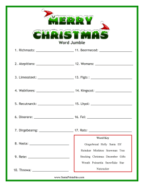 Scrambled christmas words answer new calendar template site