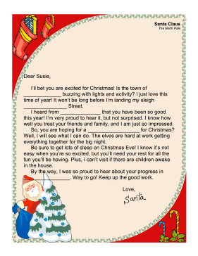 Santa Letter Fill In