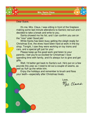 Letter from mrs claus this printable letter is from santa s wife mrs