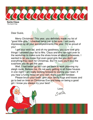 letter from santa to a girl this printable letter from santa is ...