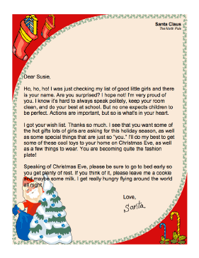 letter from santa to a girl this printable letter from santa claus to ...