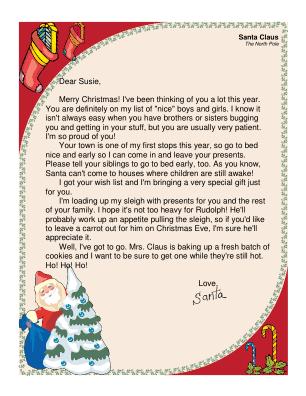 Santa Letter Printable Editable | Search Results | Calendar 2015