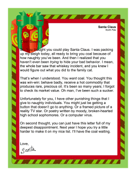 printable is a letter from santa to a naughty adult santa decides